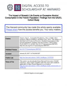 The Impact of Stressful Life Events on Excessive Alcohol Consumption in the French Population: Findings from the GAZEL Cohort Study