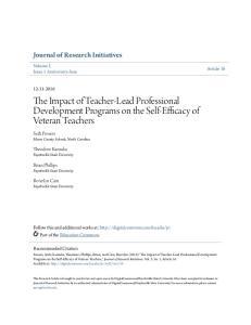The Impact of Teacher-Lead Professional Development Programs on the Self-Efficacy of Veteran Teachers