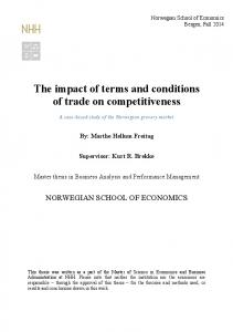 The impact of terms and conditions of trade on competitiveness
