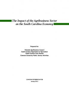 The Impact of the Agribusiness Sector on the South Carolina Economy