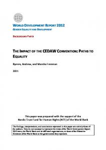 THE IMPACT OF THE CEDAW CONVENTION: PATHS TO EQUALITY