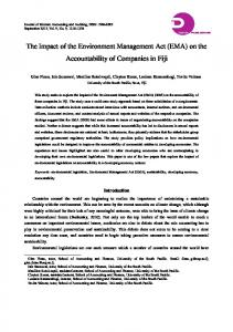 The Impact of the Environment Management Act (EMA) on the Accountability of Companies in Fiji