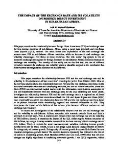 THE IMPACT OF THE EXCHANGE RATE AND ITS VOLATILITY ON FOREIGN DIRECT INVESTMENT IN SUB-SAHARAN AFRICA