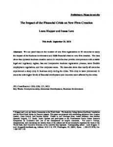 The Impact of the Financial Crisis on New Firm Creation