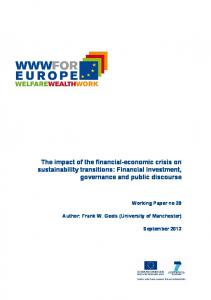 The impact of the financial-economic crisis on sustainability transitions: Financial investment, governance and public discourse