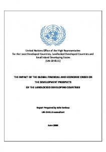 THE IMPACT OF THE GLOBAL FINANCIAL AND ECONOMIC CRISES ON THE DEVELOPMENT PROSPECTS OF THE LANDLOCKED DEVELOPING COUNTRIES