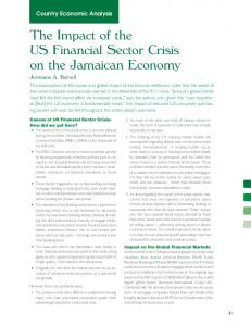 The Impact of the US Financial Sector Crisis on the Jamaican Economy