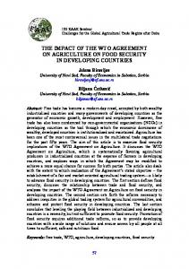 THE IMPACT OF THE WTO AGREEMENT ON AGRICULTURE ON FOOD SECURITY IN DEVELOPING COUNTRIES