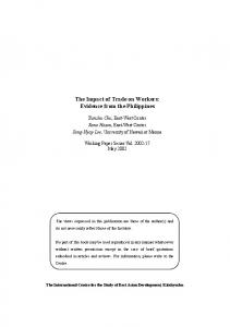The Impact of Trade on Workers: Evidence from the Philippines