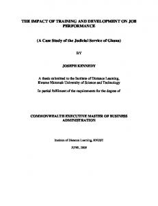 THE IMPACT OF TRAINING AND DEVELOPMENT ON JOB PERFORMANCE. (A Case Study of the Judicial Service of Ghana)