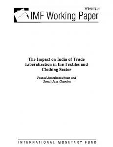 The Impact on India of Trade Liberalization in the Textiles and Clothing Sector