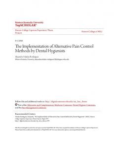 The Implementation of Alternative Pain Control Methods by Dental Hygienists