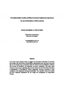 The implementation of policy conditions in structural adjustment programmes: The case of Sub-Saharan African countries
