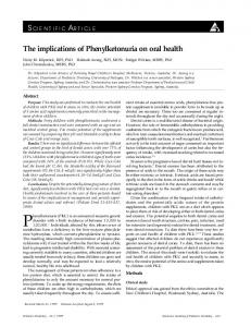The implications of Phenylketonuria on oral health