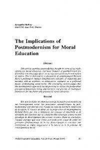 The Implications of Postmodernism for Moral Education