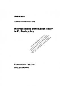 The implications of the Lisbon Treaty for EU Trade policy