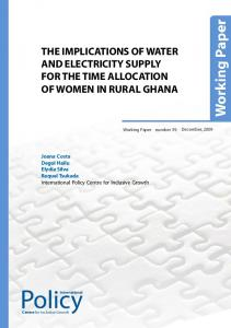 THE IMPLICATIONS OF WATER AND ELECTRICITY SUPPLY FOR THE TIME ALLOCATION OF WOMEN IN RURAL GHANA