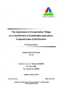 The Importance of Conservation Tillage as a Contribution to Sustainable Agriculture: A special Case of Soil Erosion