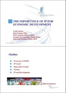 THE IMPORTANCE OF IP FOR ECONOMIC DEVELOPMENT