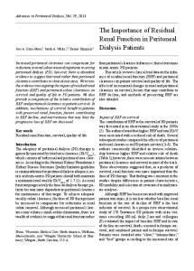 The Importance of Residual Renal Function in Peritoneal Dialysis Patients