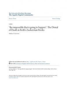 the impossible that is going to happen : The Denial of Death in Roth s Zuckerman Books