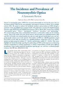 The Incidence and Prevalence of Neuromyelitis Optica