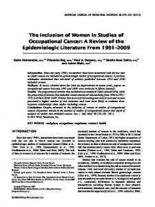 The Inclusion of Women in Studies of Occupational Cancer: A Review of the Epidemiologic Literature From