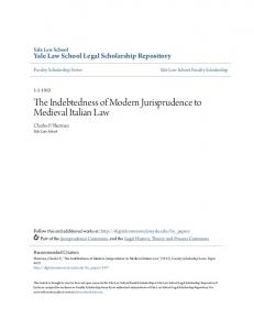 The Indebtedness of Modern Jurisprudence to Medieval Italian Law