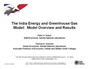 The India Energy and Greenhouse Gas Model: Model Overview and Results