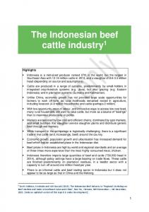 The Indonesian beef cattle industry 1