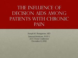 The influence of decision aids among patients with chronic pain