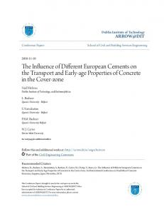 The Influence of Different European Cements on the Transport and Early-age Properties of Concrete in the Cover-zone