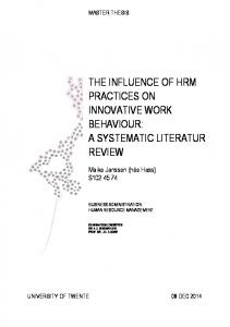 THE INFLUENCE OF HRM PRACTICES ON INNOVATIVE WORK BEHAVIOUR: A SYSTEMATIC LITERATUR REVIEW