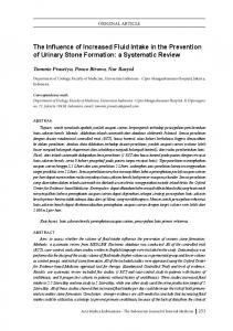 The Influence of Increased Fluid Intake in the Prevention of Urinary Stone Formation: a Systematic Review