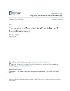 The Influence of Machiavelli on Francis Bacon: A Critical Examination