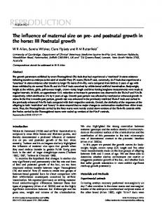 The influence of maternal size on pre- and postnatal growth in the horse: III Postnatal growth
