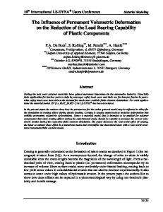 The Influence of Permanent Volumetric Deformation on the Reduction of the Load Bearing Capability of Plastic Components