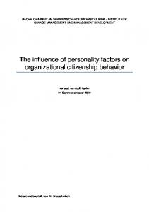 The influence of personality factors on organizational citizenship behavior