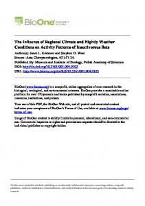 The Influence of Regional Climate and Nightly Weather Conditions on Activity Patterns of Insectivorous Bats