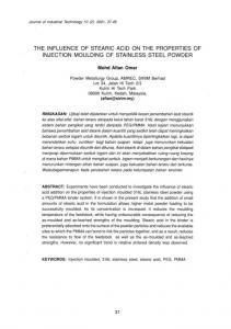 THE INFLUENCE OF STEARIC ACID ON THE PROPERTIES OF INJECTION MOULDING OF STAINLESS STEEL POWDER