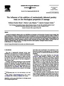 The influence of the addition of mechanically deboned poultry meat on the rheological properties of sausage