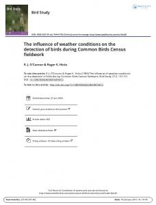 The influence of weather conditions on the detection of birds during Common Birds Census fieldwork
