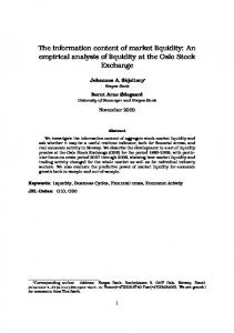 The information content of market liquidity: An empirical analysis of liquidity at the Oslo Stock Exchange
