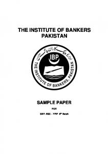 THE INSTITUTE OF BANKERS PAKISTAN