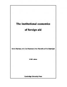 The institutional economics. of foreign aid