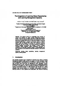 The Integration of Learning Object Repositories and Learning Management Systems