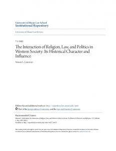 The Interaction of Religion, Law, and Politics in Western Society: Its Historical Character and Influence
