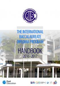 THE INTERNATIONAL BACCALAUREATE DIPLOMA PROGRAM HANDBOOK