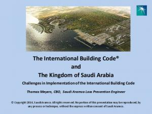 The International Building Code and The Kingdom of Saudi Arabia