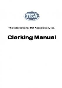 The International Cat Association, Inc. Clerking Manual